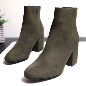 Bar III Olive Green Suede Chunky Heel Ankle Boots